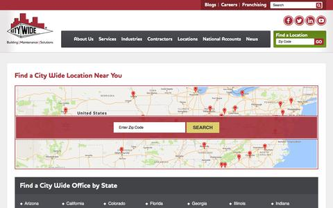 Screenshot of Locations Page gocitywide.com - Building Maintenance Location Finder - City Wide - captured Aug. 1, 2017