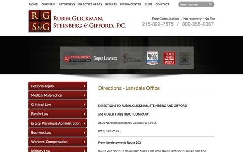 Screenshot of Maps & Directions Page rgsglaw.com - Lansdale Office Directions | Rubin, Glickman, Steinberg and Gifford, P.C. | Montgomery County Pennsylvania - captured Feb. 2, 2018