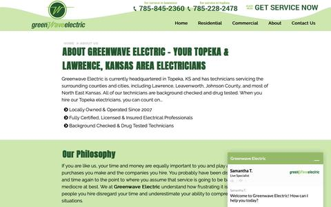 Screenshot of About Page greenwaveelectric.com - About Us | Topeka and Lawrence, KS | Greenwave Electric - captured Sept. 30, 2018