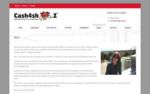 Screenshot of About Page cash4shooz.com - About - Cash4Shooz - captured Sept. 29, 2014