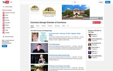 Screenshot of YouTube Page youtube.com - Columbus Georgia Chamber of Commerce  - YouTube - captured Oct. 23, 2014