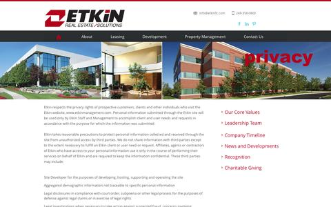Screenshot of Privacy Page etkinllc.com - Etkin Real Estate Solutions - captured Nov. 2, 2014
