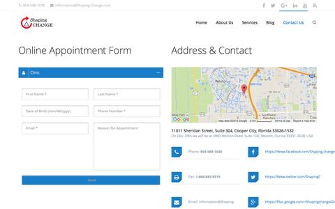 Screenshot of Contact Page shaping-change.com - Contact Us - Shaping Change - captured Feb. 28, 2016
