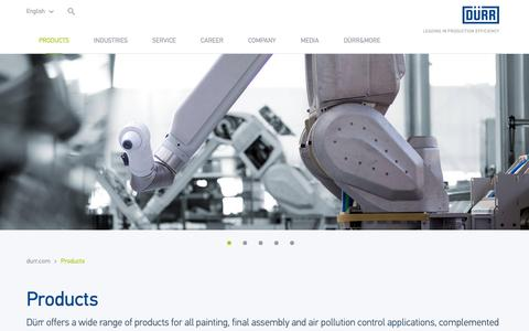 Screenshot of Products Page durr.com - Products | Dürr - captured Nov. 26, 2018