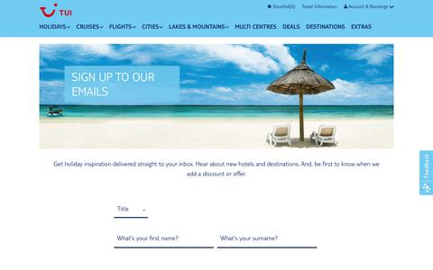 Screenshot of Signup Page tui.co.uk - Sign Up to Our Emails | TUI - captured Sept. 21, 2018