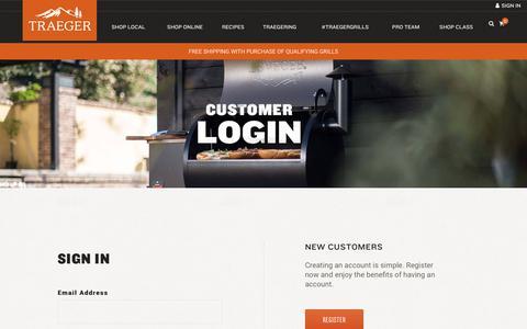 Screenshot of Login Page traegergrills.com - Account Login | Traeger Wood Fired Grills - captured Nov. 2, 2018