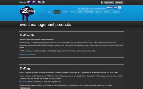 Screenshot of Products Page ezeventing.com.au - eZeventing - event management products - captured March 4, 2016
