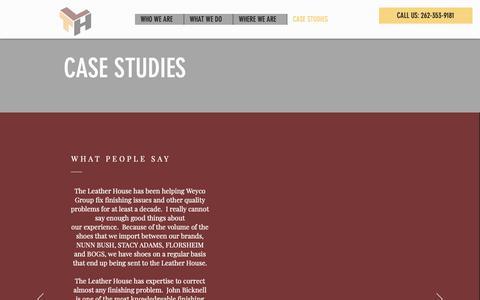 Screenshot of Case Studies Page theleatherhouseinc.com - TLH-USA   CASE STUDIES - captured Dec. 11, 2018