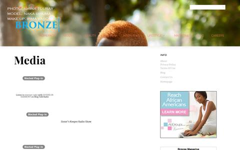 Screenshot of Press Page bronzemagonline.com - Bronze Magazine » Celebrate. Empower. Inspire. » Media - captured Oct. 30, 2014