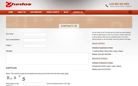 Screenshot of Contact Page echedos.com - How to Contact Echedos Investment Limited in Lagos Nigeria - captured Oct. 1, 2014