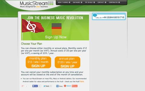 Screenshot of Signup Page musicstreamplayer.com - Sign up to MusicStream PRS-free and PPL-free service now - captured Oct. 2, 2014