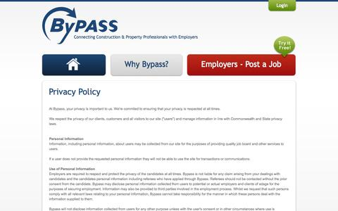 Screenshot of Privacy Page bypass.net.au - Privacy Policy - captured Oct. 5, 2014