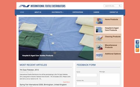 Screenshot of Home Page itdtextiles.com - ITD Textiles | International Textile Distributors - captured Oct. 6, 2014