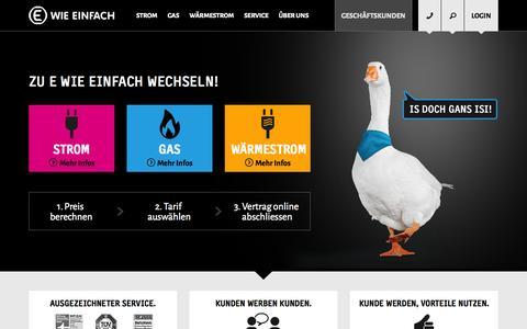 Screenshot of Home Page e-wie-einfach.de - E WIE EINFACH | Sparen Sie bei Strom, Gas und Wärmestrom! - captured Jan. 26, 2015