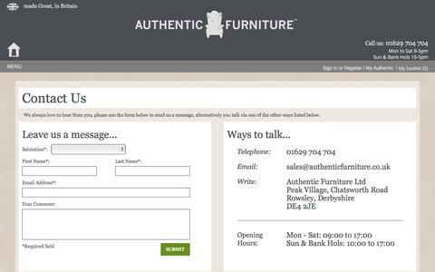 Screenshot of Contact Page authenticfurniture.co.uk - Contact Us - captured Oct. 4, 2014