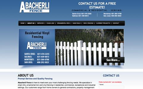 Screenshot of About Page abacherlifence.com - About Abacherli Fence | Reliable, Quality Fence Company – San Jose, CA - captured March 1, 2016