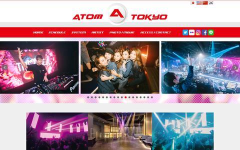 Screenshot of Home Page atom-tokyo.com - ATOM TOKYO - 東京・渋谷のクラブ - captured Oct. 22, 2018
