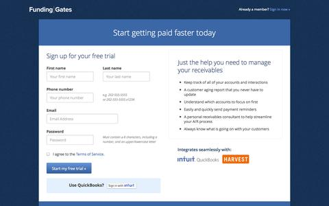 Screenshot of Signup Page fundinggates.com - Funding Gates - captured Sept. 16, 2014