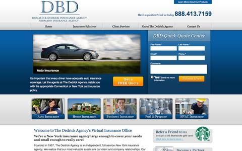 Screenshot of Home Page dedrickins.com - The Dedrick Agency | New York Insurance | NY Insurance | New York State Insurance Companies | Dover Plains Insurance Agency - captured Oct. 6, 2014