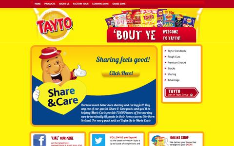 Screenshot of Home Page tayto.com - Welcome to TAYTO NI - We make some of the best crisps & snacks in the world - captured Oct. 7, 2014