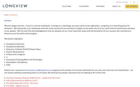 Screenshot of Jobs Page longview.com - Careers | Performance Management Software Toronto | Longview Solutions - captured May 31, 2018