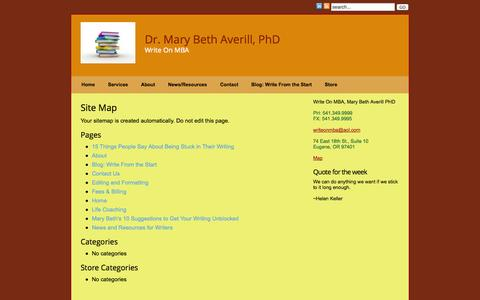 Screenshot of Site Map Page writeonmba.com - Site Map » Write On MBA - captured Oct. 4, 2014