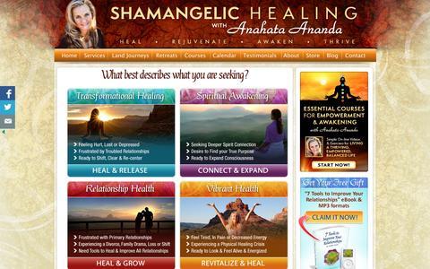 Screenshot of Services Page shamangelichealing.com - Sedona AZ Healing Services & Spiritual Healing | Shamangelic Healing with Anahata | Shamangelic Healing with Anahata - captured April 12, 2016