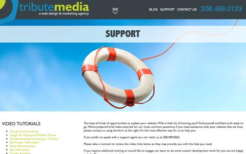 Screenshot of Support Page tributemedia.com - Support - captured Jan. 17, 2016