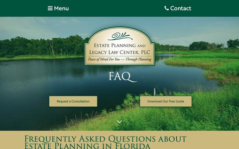 Screenshot of FAQ Page epllc-plc.com - Estate Planning and Legacy Law Center, PLC   FAQEstate Planning and Legacy Law Center, PLC   FAQ - captured Sept. 29, 2018