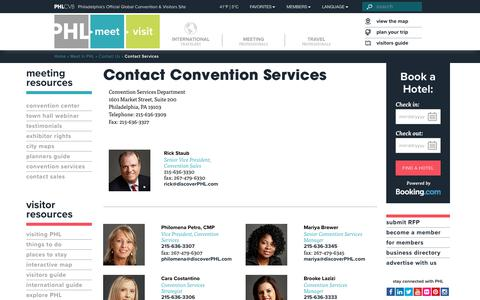 Screenshot of Services Page discoverphl.com - Contact Services - discoverPHL.com - captured Nov. 23, 2017