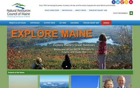 Screenshot of Home Page nrcm.org - The Natural Resources Council of Maine, Maine's leading organization working to protect Maine's environment - captured Oct. 7, 2014