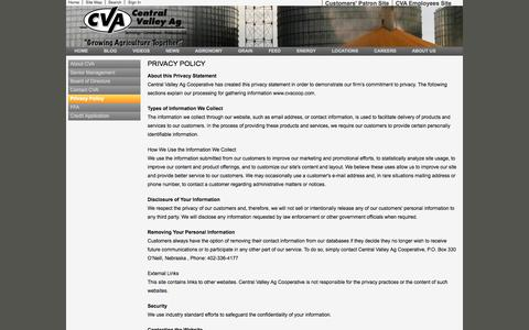 Screenshot of Privacy Page cvacoop.com - Privacy Policy - Central Valley Ag Coop - captured Oct. 2, 2014