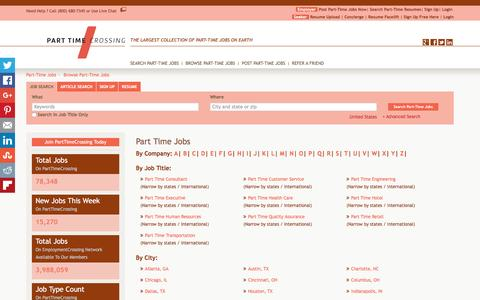 Screenshot of Jobs Page parttimecrossing.com - Part Time Jobs, Browse Jobs in Part Time By Job Type, City, State in United States   PartTimeCrossing.com - captured July 11, 2016