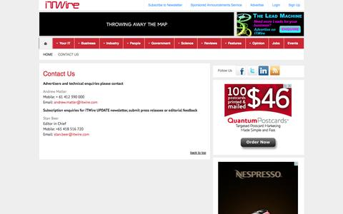 Screenshot of Contact Page itwire.com - iTWire - Contact Us - captured Sept. 19, 2014