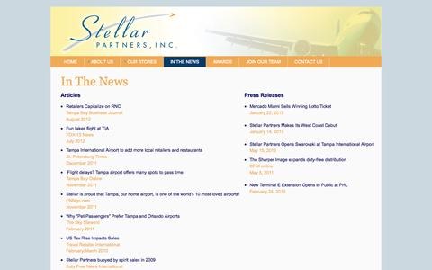 Screenshot of Press Page stellarairportstores.com - In the News - Articles and Press Releases - captured Oct. 7, 2014