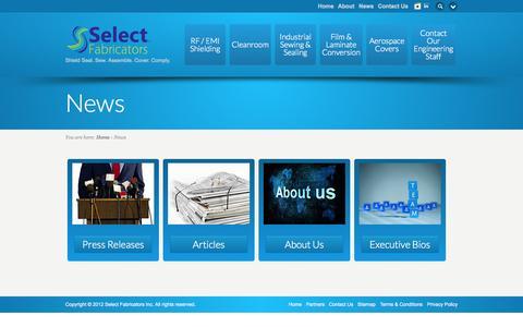 Screenshot of Press Page select-fabricators.com - News - Select Fabricators Inc - captured Nov. 2, 2014