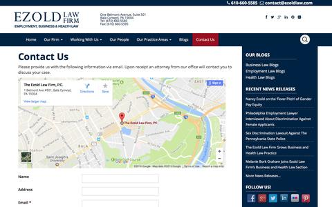 Screenshot of Contact Page ezoldlaw.com - Philadelphia Employment Law Firm, Ezold Law Firm   Contact Us - captured Dec. 22, 2016
