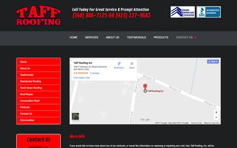 Screenshot of Contact Page taffroofing.com - Roofers Black Diamond WA | Roof Repair Black Diamond | Roofing Company - captured April 13, 2017