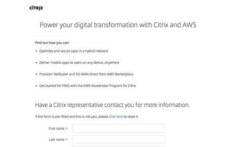 Screenshot of Landing Page citrix.com - Global Partner AWS Sales Inquiry - Registration - Citrix - captured Aug. 19, 2016