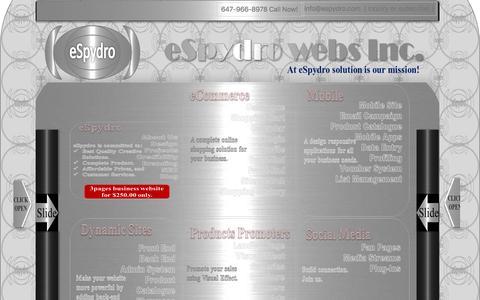 Screenshot of Home Page espydro.com - Website Design In Toronto - captured Feb. 1, 2016