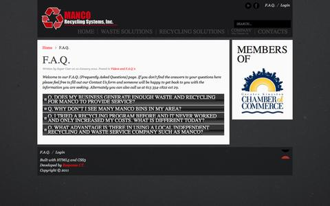 Screenshot of FAQ Page mancorecyclingwaste.com - F.A.Q. - captured Oct. 4, 2014