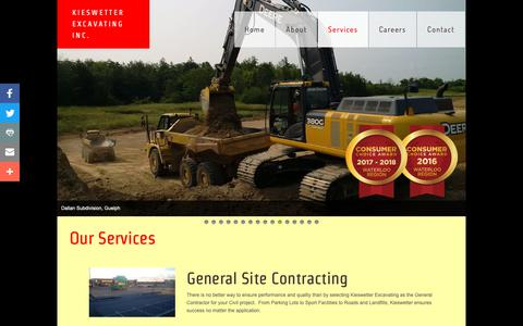 Screenshot of Services Page kieswetter.com - Services - captured Oct. 15, 2018