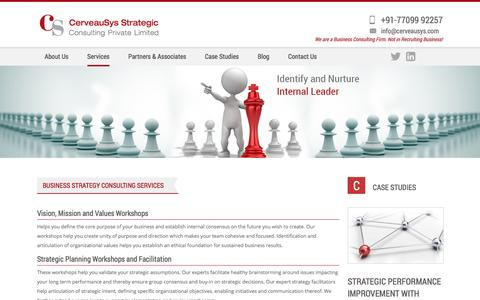 Screenshot of Services Page cerveausys.com - Business Strategy Consulting Services and Initiatives - captured Nov. 2, 2016