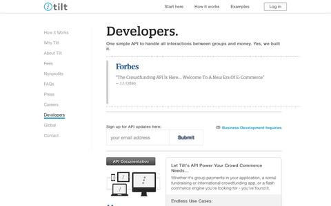 Screenshot of Developers Page tilt.com - Developers and Crowdfunding API - Tilt - captured Oct. 28, 2014
