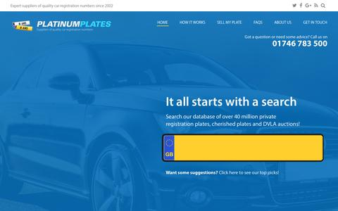 Screenshot of Home Page platinumplates.co.uk - Personalised & Private Number Plates - Platinum Plates - captured Sept. 28, 2018