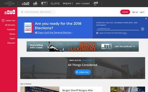 Screenshot of Home Page wnyc.org - WNYC | New York Public Radio, Podcasts, Live Streaming Radio, News - captured Sept. 21, 2018