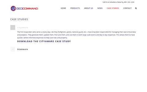 Screenshot of Case Studies Page geocommand.com - Welcome to Geocommand |   Case Studies - captured July 9, 2017