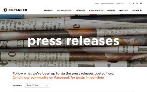 Screenshot of Press Page octanner.com - Press Releases - captured July 8, 2019