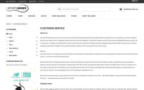 Screenshot of Support Page secondmostawesome.com - Customer Service - captured Oct. 18, 2018