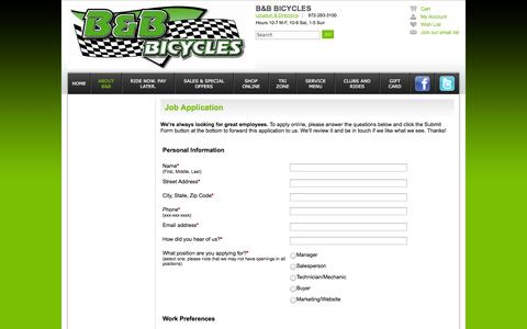 Screenshot of Jobs Page bbbicycles.com - Job Application - B&B Bicycles Cedar Hill TX 972-293-3100 Dallas Area's Finest Bicycles Store - captured Sept. 27, 2014